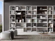 White and Grey Themed Sitting Area and Library Shelving