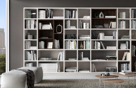 White and Grey Themed Library Shelving
