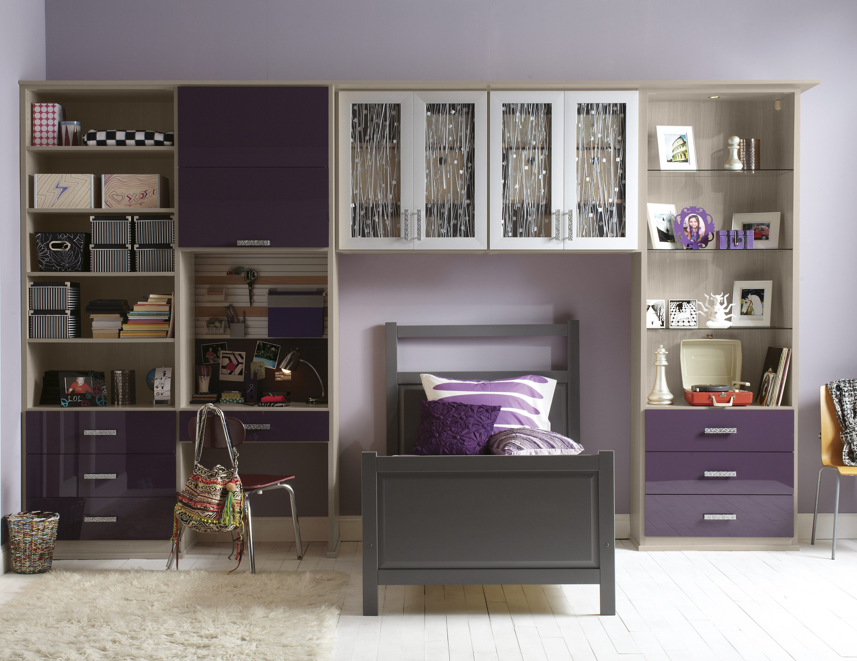 Childrens closet organization Kid Purple And Light Grey Themed Built In Desk And Storage For Childrens Room California Closets Kids Closets Teen Closets Storage Solutions Organization Ideas