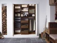 Dark Brown Built in Shelves Cubbies and Closet Rob Storage