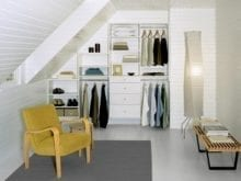 White Tiered Reach in Closet with Drawers Shelving and Closet Rods