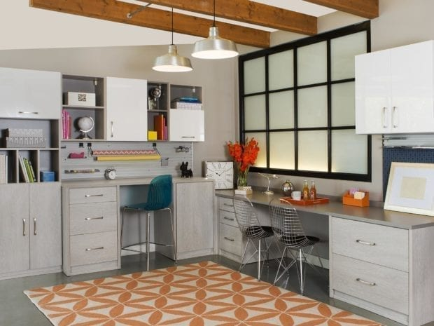 Light Grey Craft Room Storage with Built in Desks Cabinets and Shelving