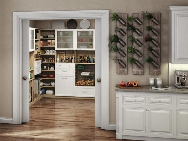 White and Light Wood Themed Pantry with Cabinets X Design Cubbies Metal Pull Out Baskets Glass Door Display Shelving