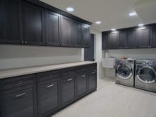 Light Grey and Black Laundry Room Cabinets