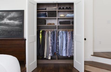 Dark Brown Reach In Closet With Shelves and Closet Rods