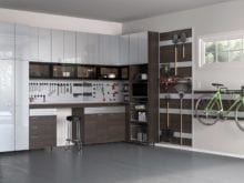 High Gloss White and Matte Dark Brown Garage Storage Cabinets with Work Space and Tools Racks