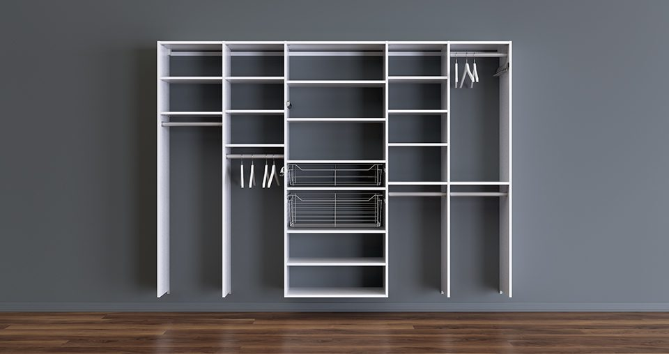 White Wall Mounted Closet System with Shelves Metal baskets and Closet Rods