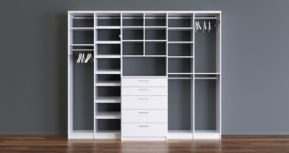 White Free Standing Closet with Drawers Shelves and Closet Rods