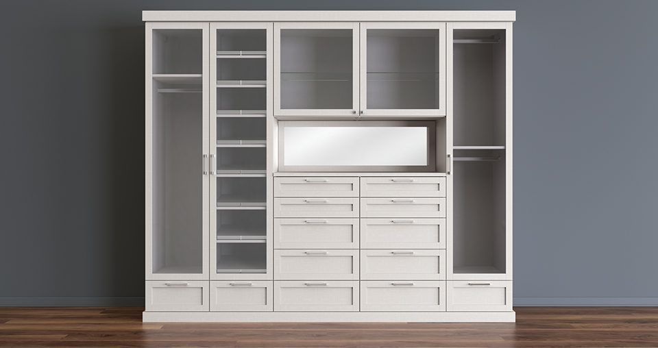 White Stand Alone Reach Closet With Cabinets Drawers Shelves Vanity Mirror and Closet Rods