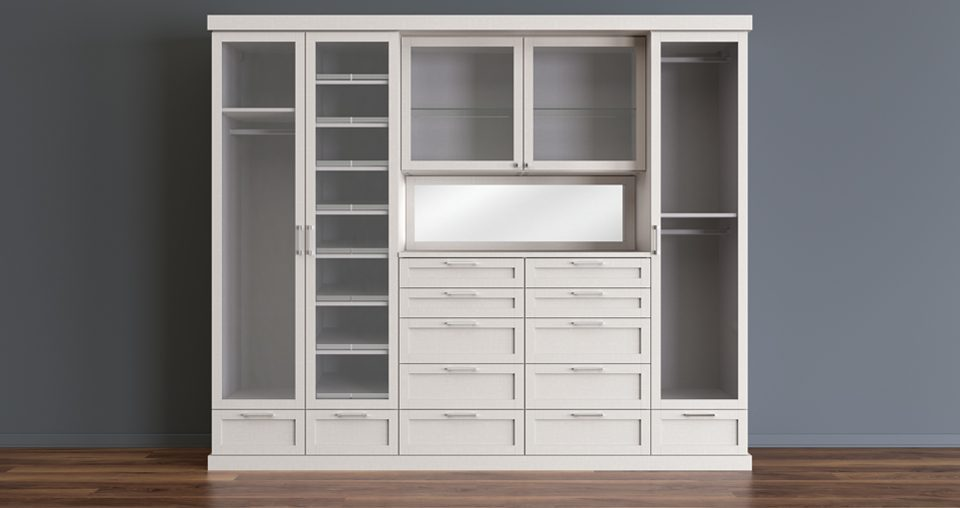 White Stand Alone Reach in Closet with Closet Rods Dresser Drawers Display Cabinets with Glass Doors and Built in Vanity Mirror