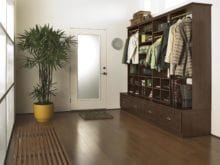 Dark Brown Stand Alone Storage with Drawers Shelves and Closet Rods
