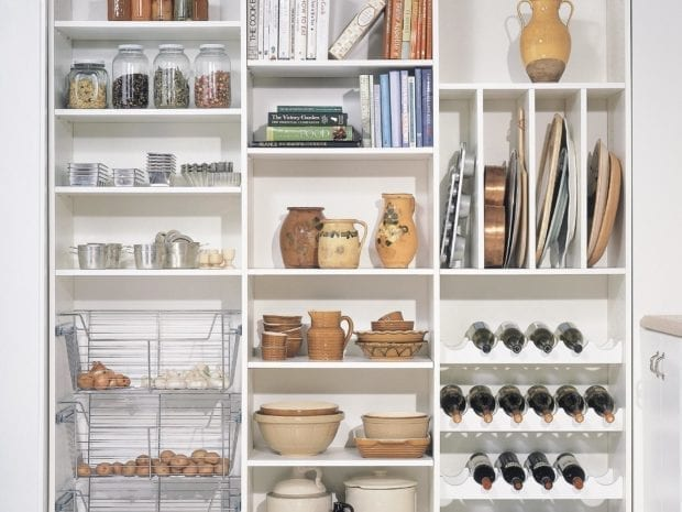 White Themed Pantry Storage With Racks Shelving and Metal Baskets