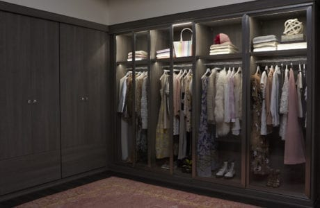 Dark Brown Walk in Closet with Wardrobe Closet Rods Shelving and Built in Lighting