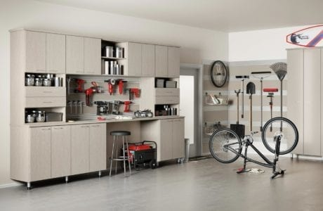 Light Grey Garage Storage With Tool Racks Work Space Cabinets Shelves and Drawers