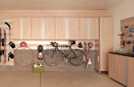 Tan Garage Storage with Hanging Racks Cabinets Tool Rack Cabinets and Work Space