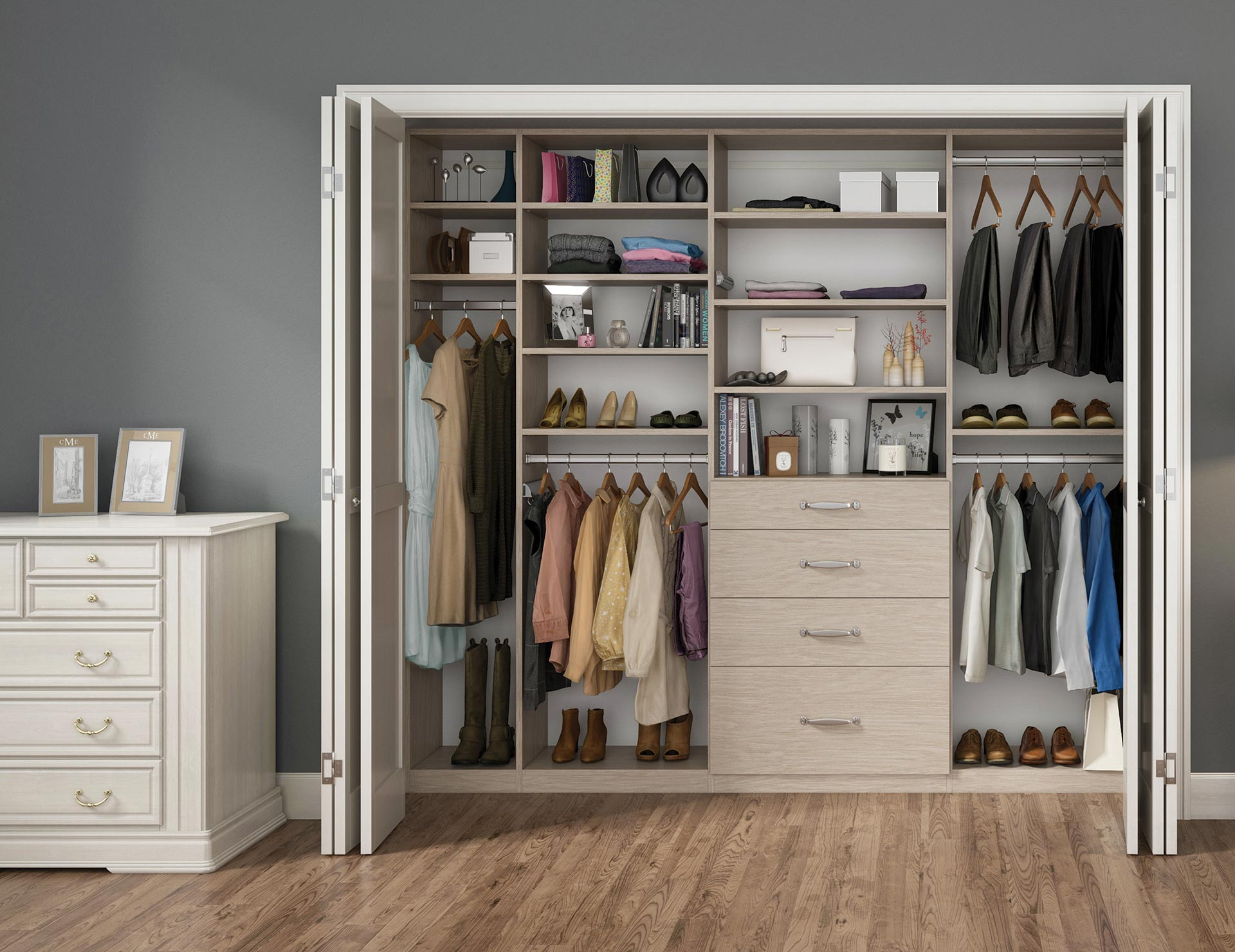 Natural wood reach in closet with shelves drawers and metal closet rods