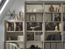 Grey office Shelving with Tan Accents and Buillt in Lighting