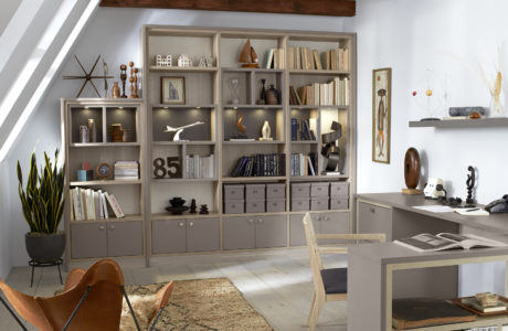 Grey Office Space with Cabinets Shelving Built in Desk and Light Wood Accents