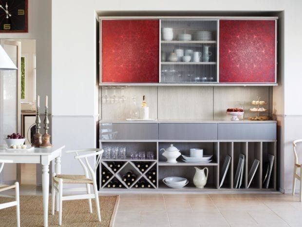 Light Grey Pantry Storage with Shelving Wine Rack Display and Red Accent Cabinets