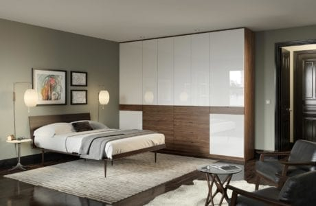 Wardrobe with High Gloss White Cabinets Dark Brown Drawers and Dark Brown Trim