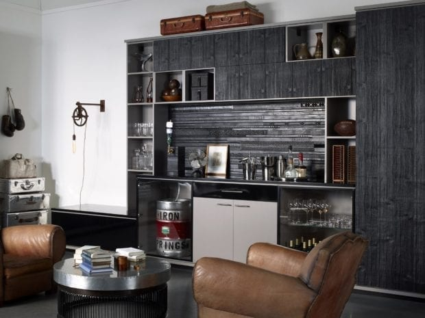 Black Wood Grain Bar With Cabinets Shelving Storage Closet and Built in Keg Cabinet