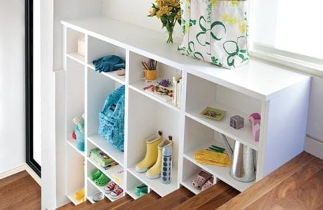 White Tiered Stairway storage with Cubbies and Hanging Hooks