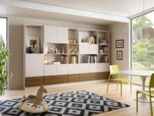 Family Room Stand Alone Storage with White Cabinets and Shelves and Light Brown Drawers
