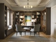 Dark Brown Office Design with Light Grey Accents includes Bay Window seating Shelves Cabinets and Desk