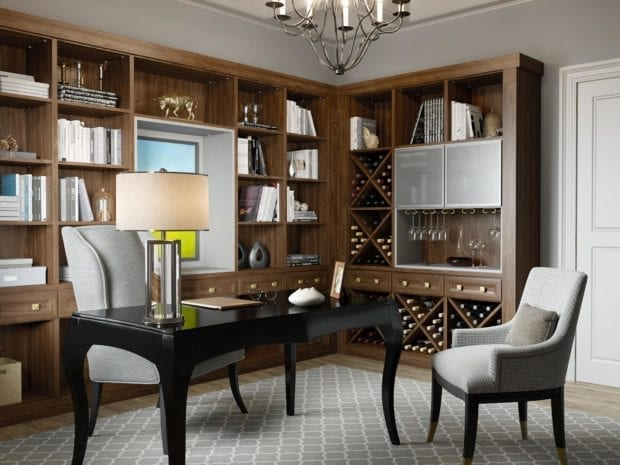 Dark Brown Office and Wine Bar with Shelving Display Cabinet and Wine Racks