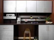 Metallic Grey Work Space with Tool Rack Shelving and Cabinets