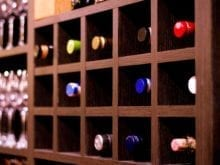 Dark Brown Squared Holed Wine Rack for Wine Bar