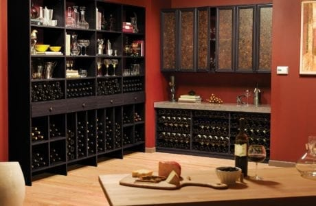 Black Wood Grain Wine Bar with Shelving Wine Racks Marble Countertop and Decorative Inlay Cabinets