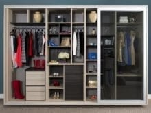 Natural Wood Stand Alone Closet with Cubbies Closet Rods Shelving Dark Brown Accents and Sliding Glass Doors