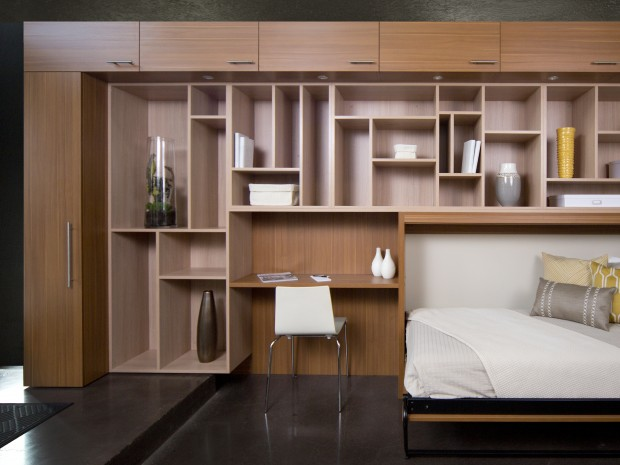 Wood Grain Stand Alone Bed Room Storage Cabinets Desk and Murphy Bed and Light Wood Shelving