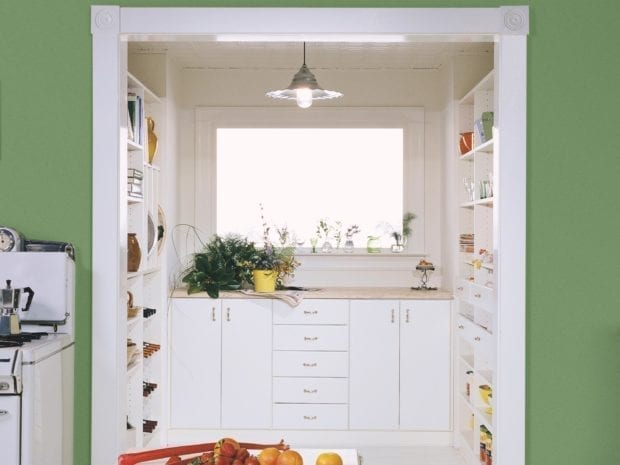 White Themed Pantry Storage with Shelving Cabinets Drawers and Work Space