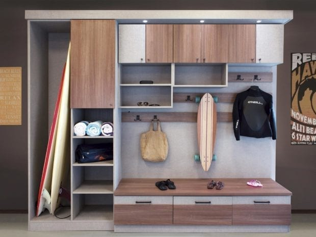 Grey And Light Brown Stand Alone Storage Space with Coat Hooks Shelving Cabinets Built in Lighting and Seating