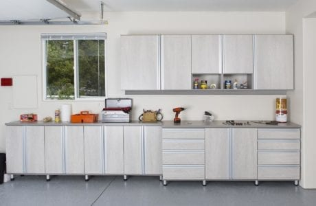 Garage Storage with Cubbies Cabinets and Work Space