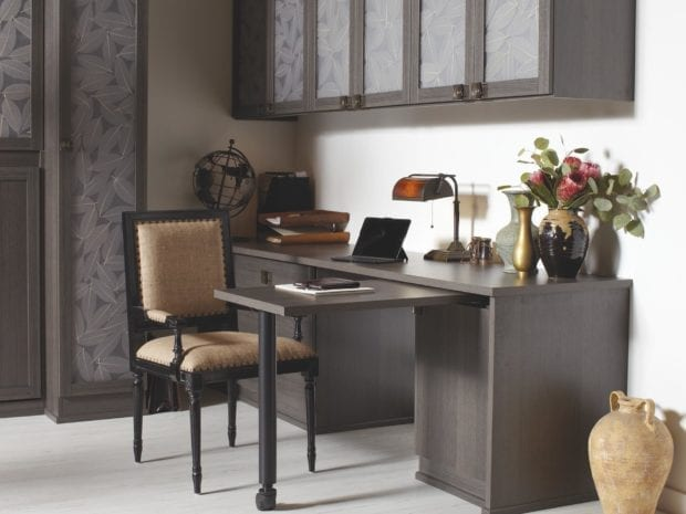 Dark Brown Wood Grain Office Desk and Decorative inlay Cabinets