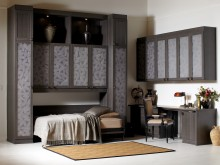 Dark Wood Office Space with Display Shelves Office Desk Murphy Bed and Cabinets with Decorative Inlay Glass Doors