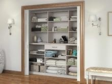 Off White Reach in Linen Closets with Shelves and A Single Drawer