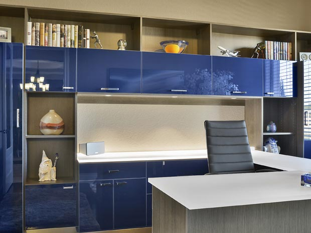 Office With High Gloss Dark Blue Cabinets High Gloss White Topped Desk Wood  Grain Grey Display