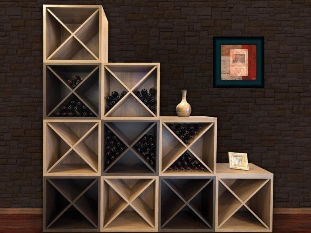 Tiered Tan Wine Rack with X Design Cabinets and Dark Brown Accents