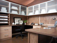 Light Brown Wood Grain Office With Shelves Drawers Wrap Around Desk and Cabinets with Frosted Glass Doors