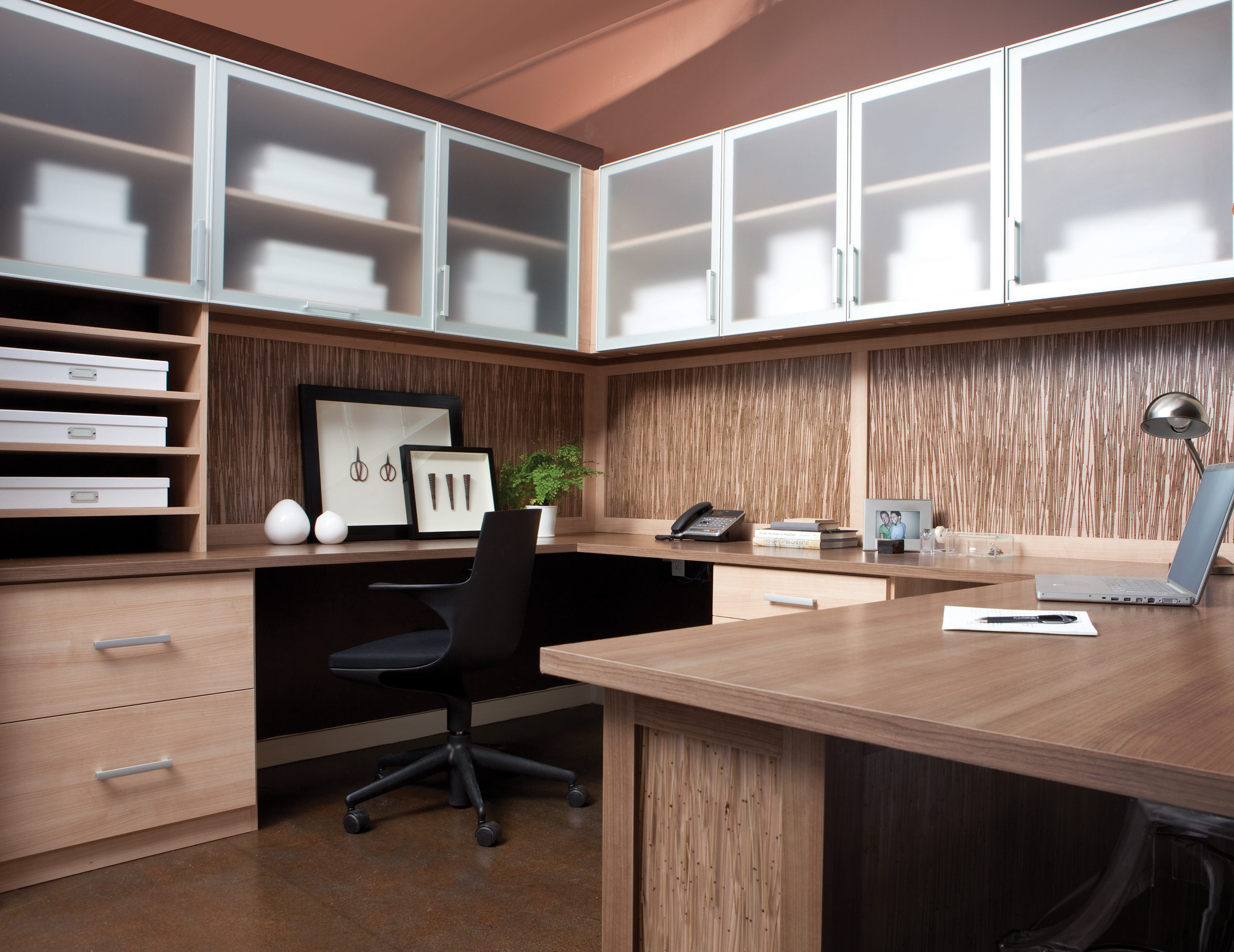 Awesome Light Brown Wood Grain Office With Shelves Drawers Wrap Around Desk And  Cabinets With Frosted Glass