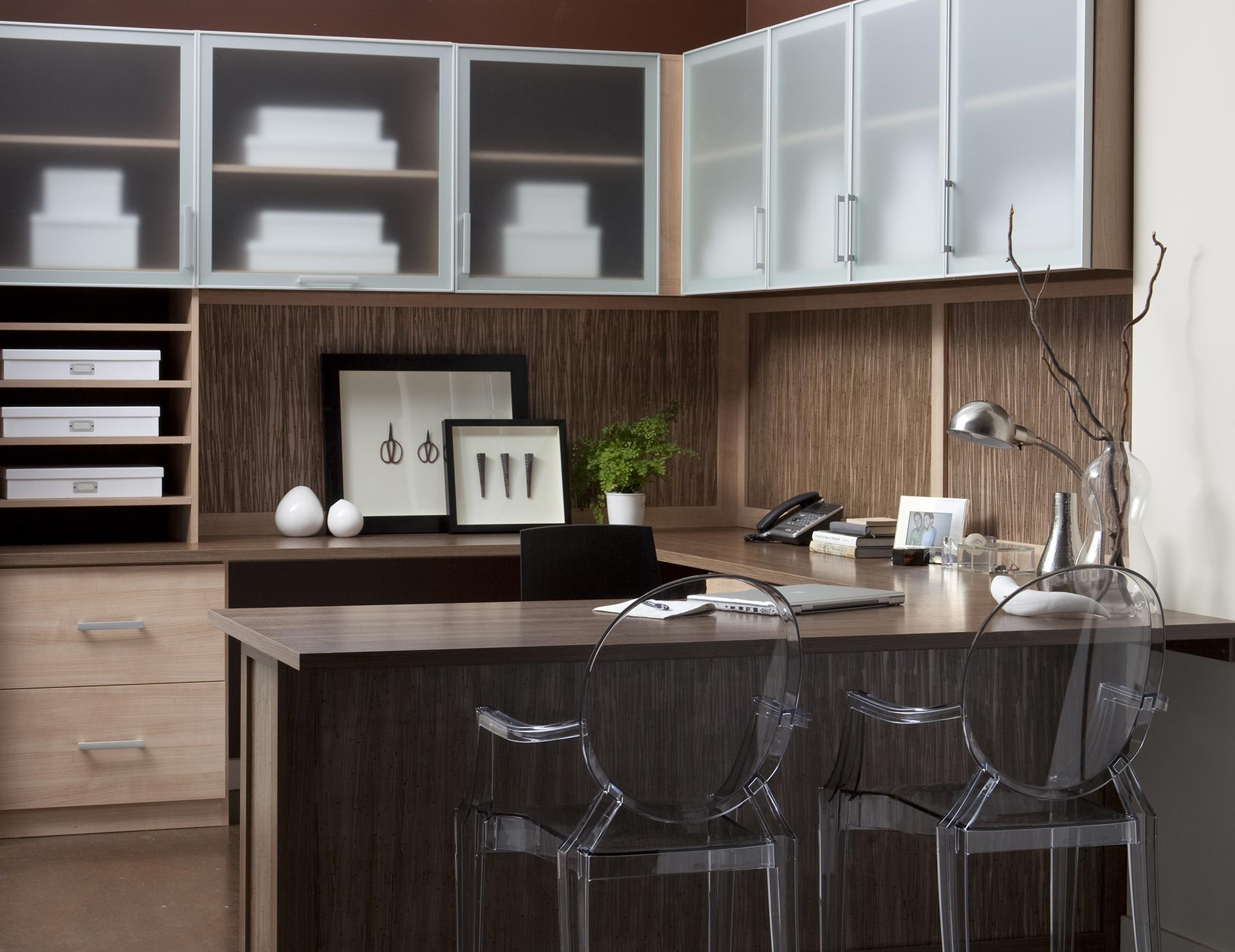 Light Brown Wood Grain Office With Shelves Drawers Wrap Around Desk And  Cabinets With Frosted Glass