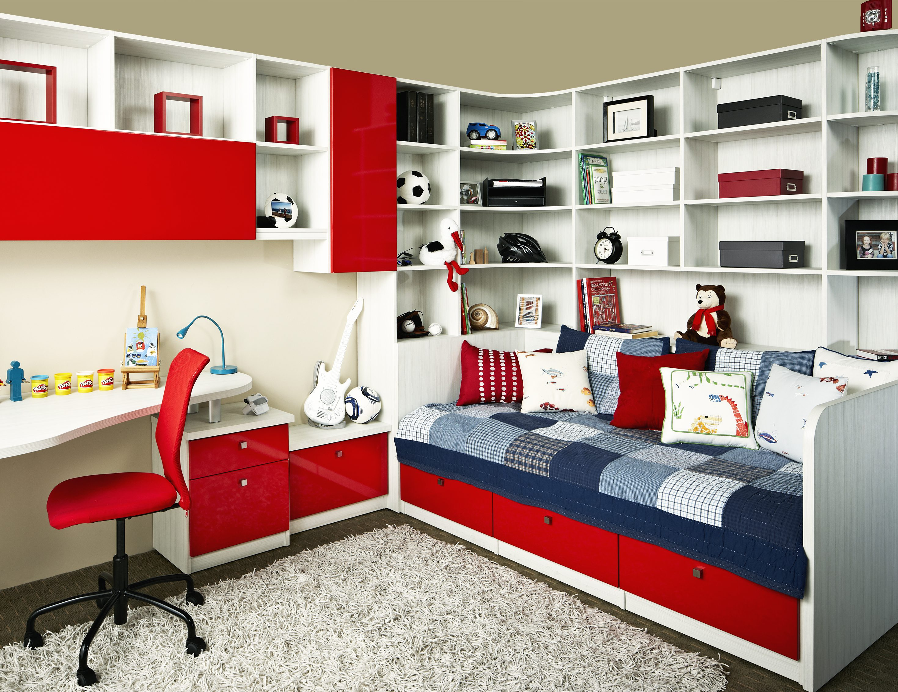 White Themed Kids Room With Built In Bed Desk Shelves And High Gloss Red  Fronted Cabinets