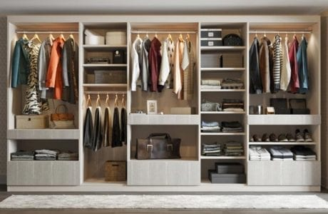 Light Grey Stand Alone Closet With Shelves Drawers Closet Rods and Built in Lighting