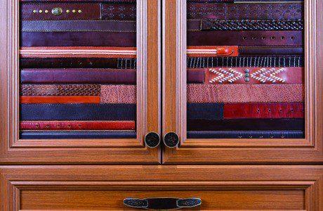 Light Brown Glass Door Cabinet with Brown Belts