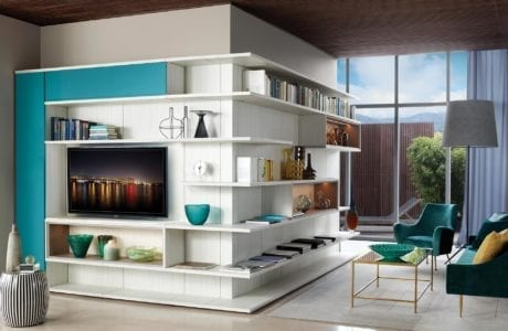 Light Grey Entertainment Center with Shelving Display Shelves and Turquoise Fronted Cabinets