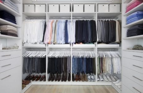 White Walk in Closet with Shelving Baskets Closet Rods and Drawers